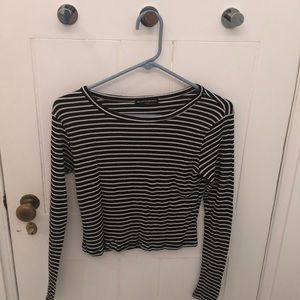 Black and white striped brandy Melville shirt